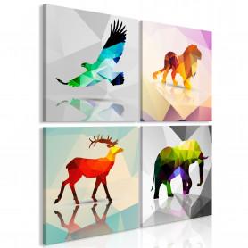Tablou - Colourful Animals (4 Parts) 90x90 cm