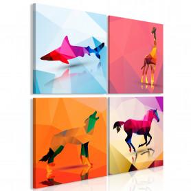Tablou - Geometric Animals (4 Parts) 40x40 cm