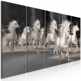 Tablou - Unicorns Run (5 Parts) Narrow 200x80 cm