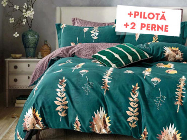 Pachet Lenjerie + Pilota + Perne Bed Forest (Finet)