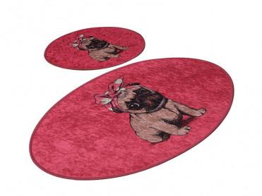 Set 2 Covorase de Baie Pink Pug