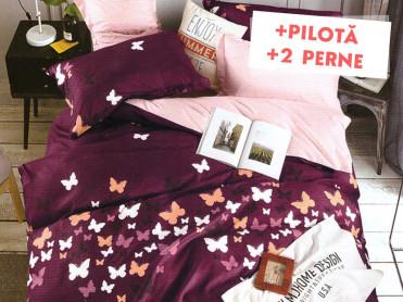 Pachet Lenjerie + Pilota + Perne Purple Fly (Bumbac Satinat)