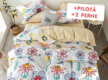 Pachet Lenjerie + Pilota + Perne Pencil Flower (Bumbac Satinat)