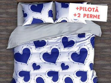 Pachet Lenjerie + Pilota + Perne Blue Heart (Bumbac Satinat)