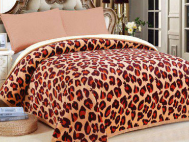 Patura Pufoasa Leopard, cu blanita, 200x230 cm