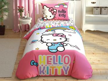 Lenjerie Copii Hello Kitty Rainbow (Bumbac 100%)
