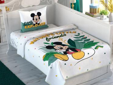Lenjerie si Cuvertura Patut Bebe Mickey Mouse Explorer (Bumbac 100%)