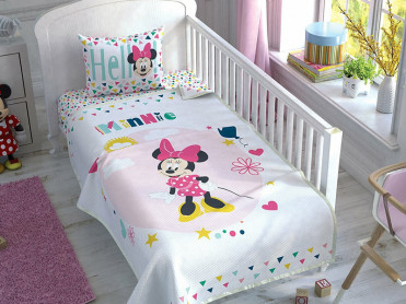Lenjerie si Cuvertura Patut Bebe Minnie Mouse Color (Bumbac 100%)