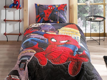 Lenjerie si Cuvertura Matlasata Copii Spider-Man City (Bumbac 100%)