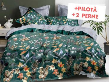 Pachet Lenjerie + Pilota + Perne Flower Carpet (Finet)