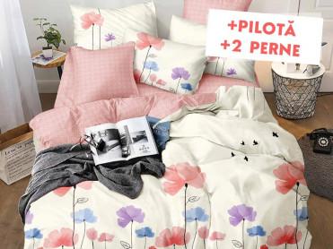 Pachet Lenjerie + Pilota + Perne Flower Sky (Finet)