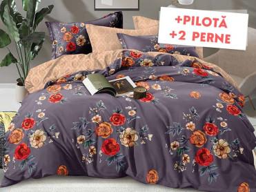 Pachet Lenjerie + Pilota + Perne Purple Garden (Finet)