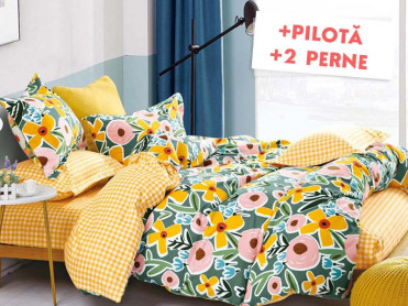 Pachet Lenjerie + Pilota + Perne Happy Flowers (Finet)
