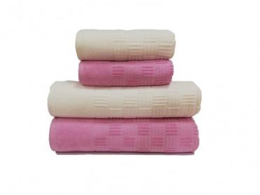 Set 4 Prosoape, 50x90 si 90x150 cm, Demore Cream-Pink (Bumbac 100%)