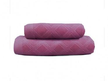 Set 2 Prosoape, 50x90 si 90x150 cm, Karo Purple (Bumbac 100%)