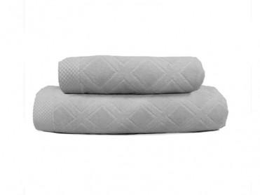 Set 2 Prosoape, 50x90 si 90x150 cm, Karo Grey (Bumbac 100%)