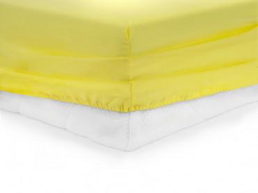 Cearsaf de pat cu elastic, Heinner, Galben, 90x200cm (Bumbac 100%)