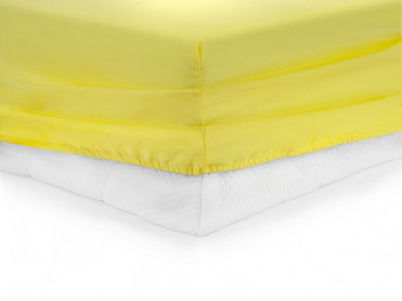 Cearsaf de pat cu elastic, Heinner, Galben, 180x200cm (Bumbac 100%)