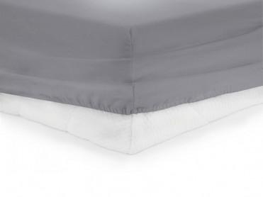 Cearsaf de pat cu elastic, Heinner, Gri, 140x200cm (Bumbac 100%)