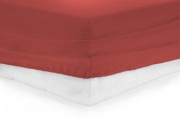 Cearsaf de pat cu elastic, Heinner, Rosu, 90x200cm (Bumbac 100%)
