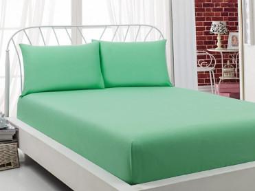 Cearsaf cu Elastic si 2 fete de perna Majoli Verde Deschis, 160x200cm (Bumbac 100%)