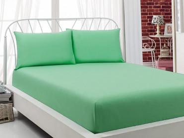 Cearsaf cu Elastic si 2 fete de perna Majoli Verde Pal, 160x200cm (Bumbac 100%)