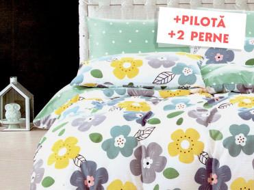 Pachet Lenjerie + Pilota + Perne Aqua Flower (Finet)
