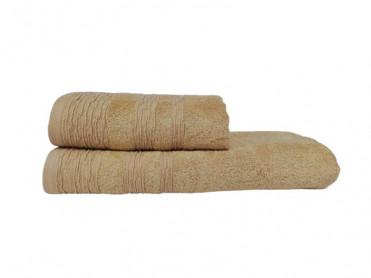 Set 2 Prosoape, 50x90 si 70x140 cm, Crepe Bej (Bambus)