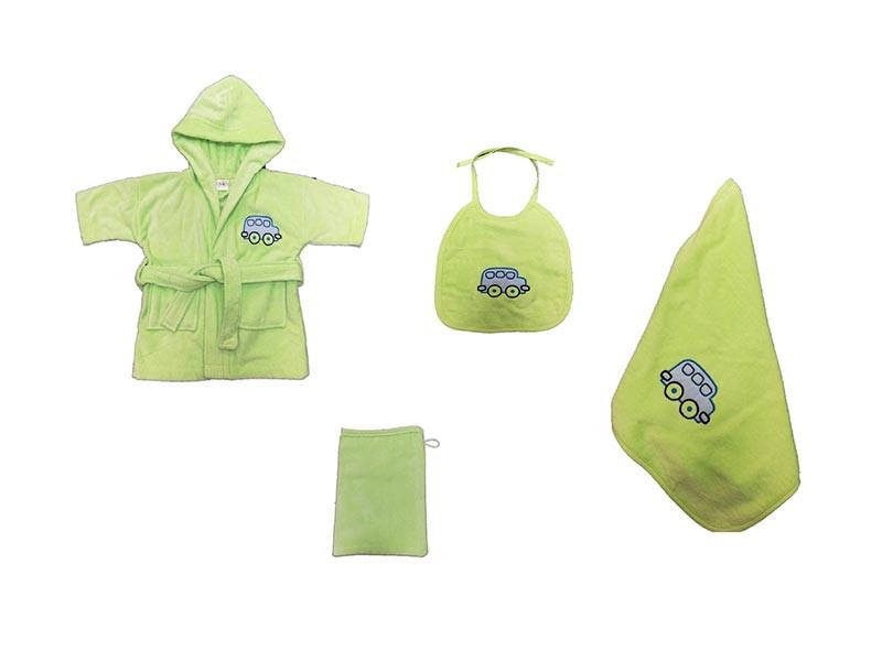 Set Halat, 4 Piese, Pentru Bebelusi Majoli Verde (Bumbac 100%)