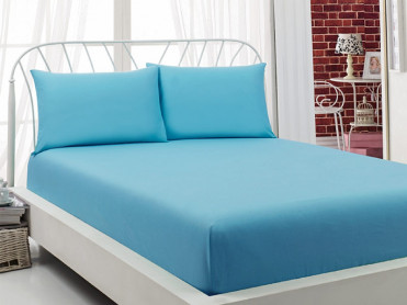 Cearsaf cu Elastic si 2 fete de perna Majoli Blue, 160x200cm (Bumbac 100%)