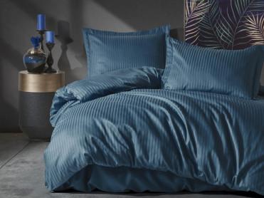 Lenjerie Elegant Stripe Albastru (Satin Deluxe)