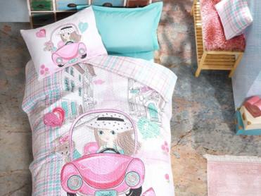 Set Lenjerie si Cuvertura Copii Paris Love Cottonbox (Bumbac 100%)
