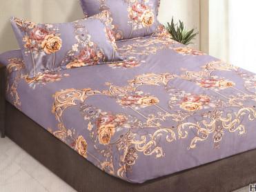 Cearsaf de pat cu elastic si 2 fete de perna, CNC LH01, 180x200cm (Bumbac Satinat)