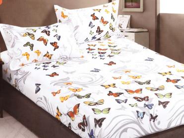 Cearsaf de pat cu elastic si 2 fete de perna, CNC LH08, 180x200cm (Bumbac Satinat)