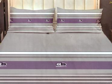 Cearsaf de pat cu elastic si 2 fete de perna, CNC LH25, 180x200cm (Bumbac Satinat)