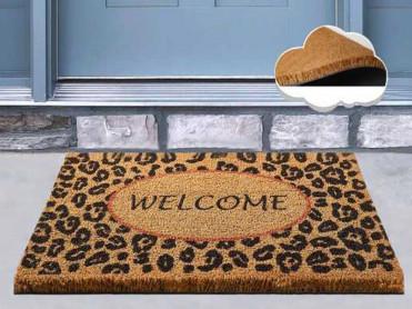 Covoras Intrare Welcome Leopard, 40x60 cm, din Fibre de Cocos