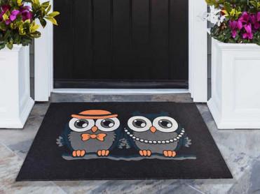 Covoras Intrare Night Owl, 45x70 cm, Cauciucat