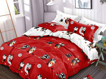 Lenjerie cu Elastic 180x200 Owl Red, 6 Piese (Finet)