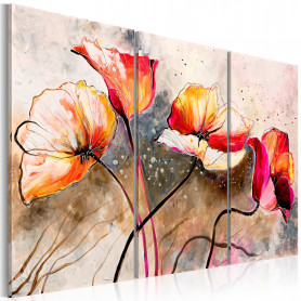 Tablou pictat manual - Poppies lashed by the wind 120x80 cm