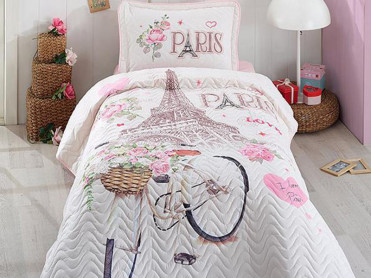 Cuvertura Matlasata 1 Persoana, Paris Love, 180x240 cm (Bumbac 100%)