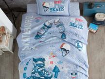 Lenjerie si Cuvertura 1 Persoana, pentru copii, Skyland Albastru (Bumbac 100%)