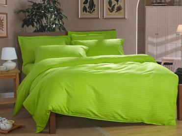 Lenjerie Nuria Verde, cu elastic, 160x200 cm (Bumbac 100% Damasc)