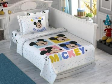Lenjerie si Cuvertura Patut Bebe Mickey Be Kind (Bumbac 100%)