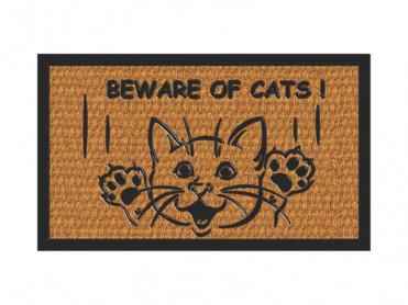Covoras Intrare Beware of Cats, 40x60 cm, Fibre de Cocos
