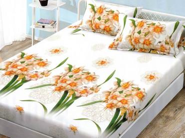 Cearsaf de pat cu elastic si 2 fete de perna, CNC L817, 180x200cm (Bumbac Satinat)