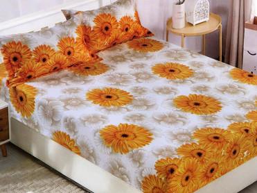 Cearsaf de pat cu elastic si 2 fete de perna, CNC L11, 180x200cm (Bumbac Satinat)