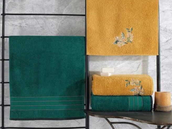 Set 4 Prosoape 50x90 si 90x150 cm, Colorful Verde-Galben (Bumbac 100%)