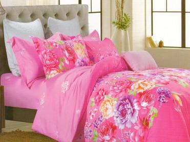 Lenjerie Pink Garden (Finet Satinat)
