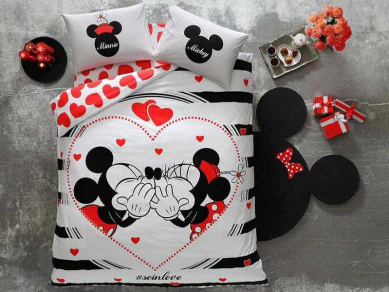 Lenjerie Copii Mickey + Minnie Amour (Bumbac 100%)