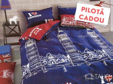 Lenjerie + Pilota London Albastra (Bumbac Satinat)